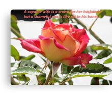Proverbs 12v4 English Rose Canvas Print