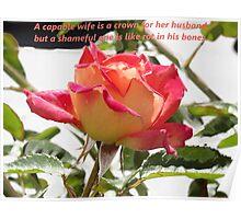 Proverbs 12v4 English Rose Poster