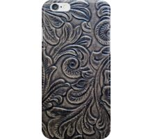 Brown Embossed Tooled Leather Floral Scrollwork Design iPhone Case/Skin