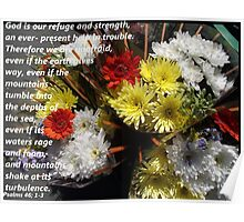 Psalms 46 in Flowers Poster