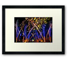 Big Blue Illuminations Fireworks at Epcot Framed Print