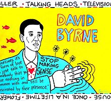 David Byrne Pop Folk Art by krusefolkart