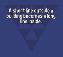 A short line outside a building becomes a long line inside. by margdbrown