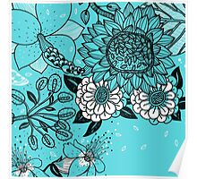 Hand Drawn Flowers on Blue Background Poster