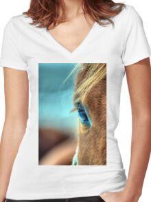 Horse Eye Women's Fitted V-Neck T-Shirt