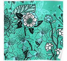 Gorgeous Floral on Teal Background Poster