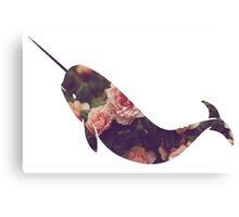Narwhal - Floral Canvas Print