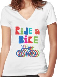Ride a Bike sketchy - black T  Women's Fitted V-Neck T-Shirt