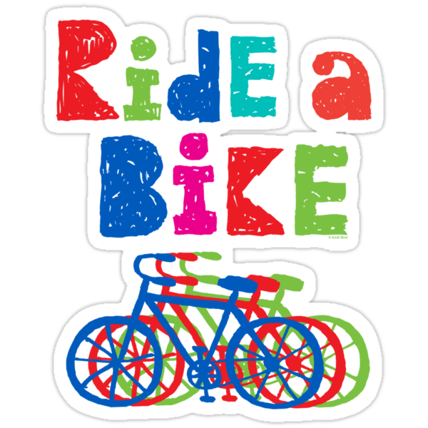 Ride a Bike sketchy - black T  by Andi Bird