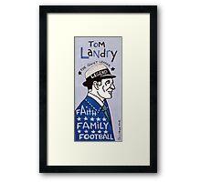 Tom Landry Dallas Cowboys Football Folk Art Framed Print