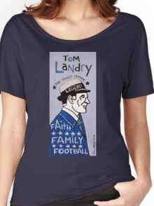 Tom Landry Dallas Cowboys Football Folk Art Women's Relaxed Fit T-Shirt