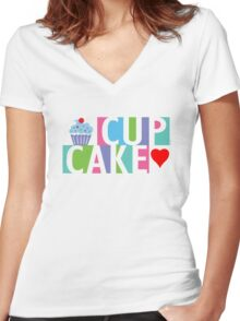 Cupcake love pink 4 Women's Fitted V-Neck T-Shirt