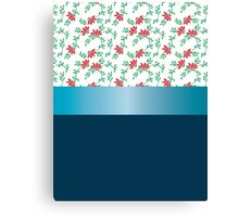 Design red flowers and blue ribbon. Canvas Print