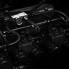 1971 Datsun 240Z Race Car Straight-6 Engine Monochrome by LongbowX