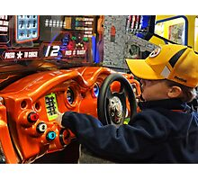 A little boy's day at the arcade Photographic Print