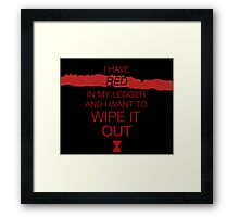 red in my ledger Framed Print