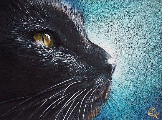 Thoughtful Cat by Elena Kolotusha