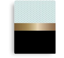 Design pattern of white flowers and gold ribbon. Canvas Print