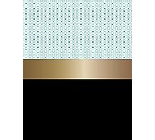 Design pattern of white flowers and gold ribbon. Photographic Print