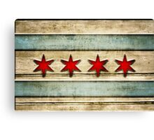 Distressed Wood Chicago Flag Look Canvas Print