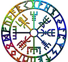 Vegvísir (Icelandic 'sign post') Symbol - COLOR BURST by sleepingmurder