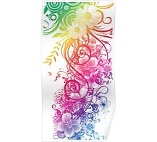 Colorful Retro Floral Pattern Poster