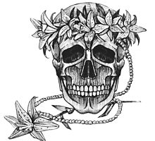 Pirate skull with flowers wreath by Mehendra