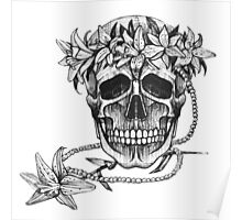 Pirate skull with flowers wreath Poster