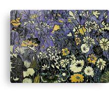 Woodcut Flower Print - Yellow Canvas Print