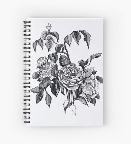 Realistic roses. Black and white hand drawing pattern Spiral Notebook
