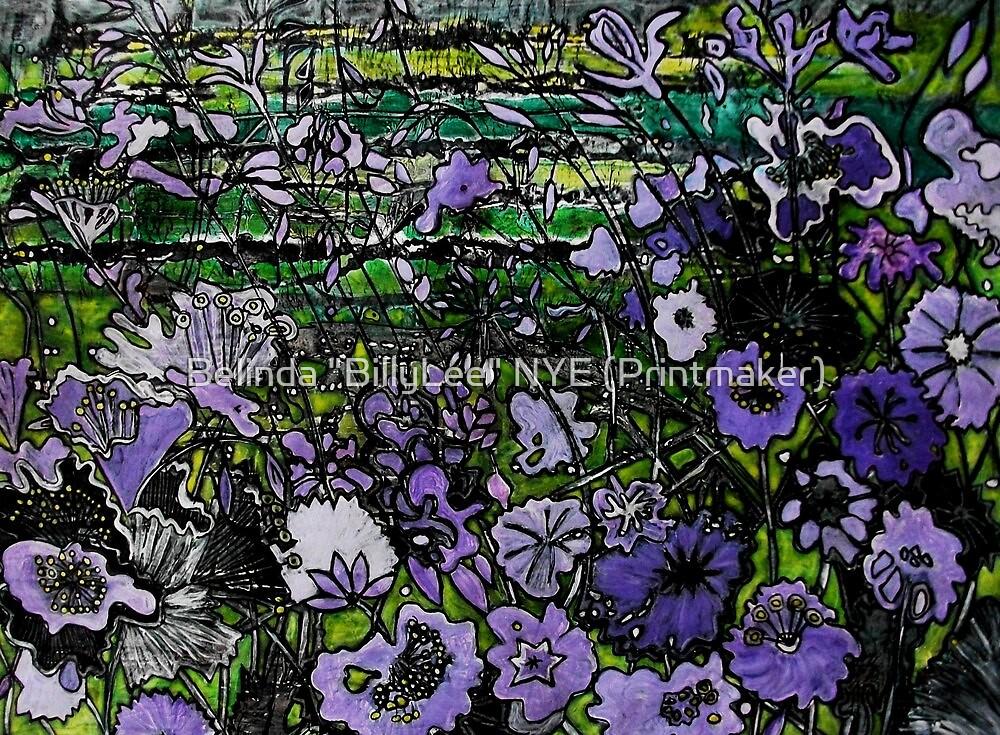 """Woodcut Flower Print - Mauve by Belinda """"BillyLee"""" NYE (Printmaker)"""