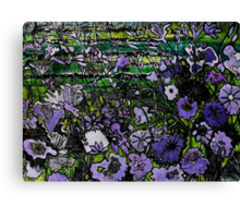 Woodcut Flower Print - Mauve Canvas Print