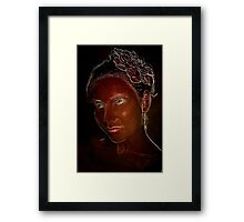 Brown portrait with green eyes Framed Print