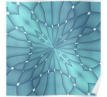Blue and Turquoise Metallic Star Poster