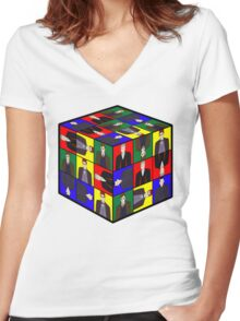 The Doctor's Cube Women's Fitted V-Neck T-Shirt