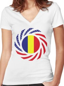 Romanian American Multinational Patriot Flag Series Women's Fitted V-Neck T-Shirt
