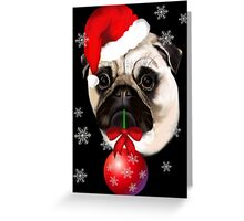Merry Christmas Pug Greeting Card