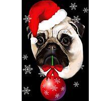 Merry Christmas Pug Photographic Print