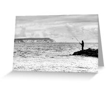 Lone Angler in black and white Greeting Card