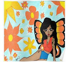 Sunny skies and Butterflies Poster