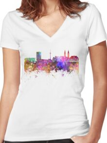Bremen skyline in watercolor background Women's Fitted V-Neck T-Shirt