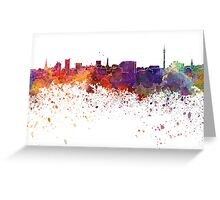 Dortmund skyline in watercolor background Greeting Card
