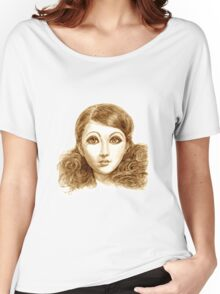 Doll face hand drawing Women's Relaxed Fit T-Shirt