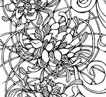 Ornate graphic decorative peonies by lenkisart