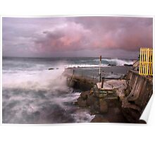 Bronte rockpool stormy sunset Poster