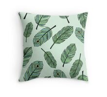 Wonderful doodle feather print Throw Pillow