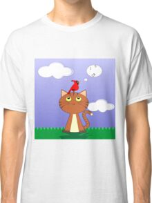 cat and birds singing Classic T-Shirt