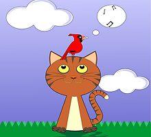 cat and birds singing by Desenatorul1976