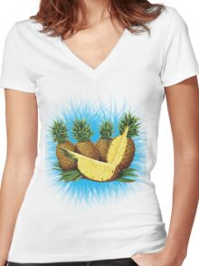 Art Pinapple Kids Tshirt Women's Fitted V-Neck T-Shirt