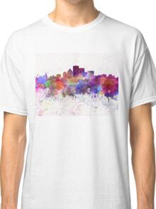 Rochester NY skyline in watercolor background Classic T-Shirt